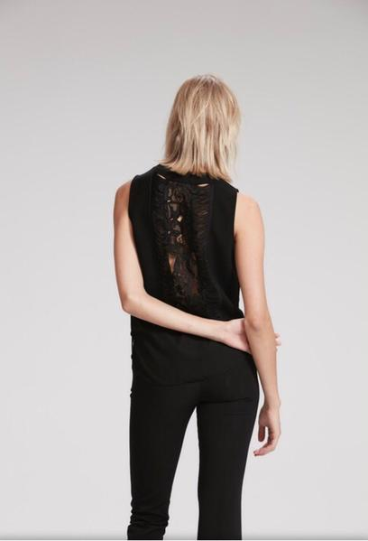 Black Top with Lace Back Detail