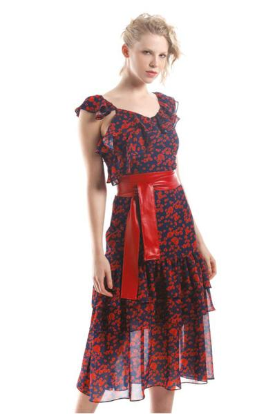 Red & Navy Floral Midi Dress