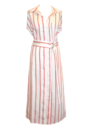 Stripe Linen Dress - Red/Ecru