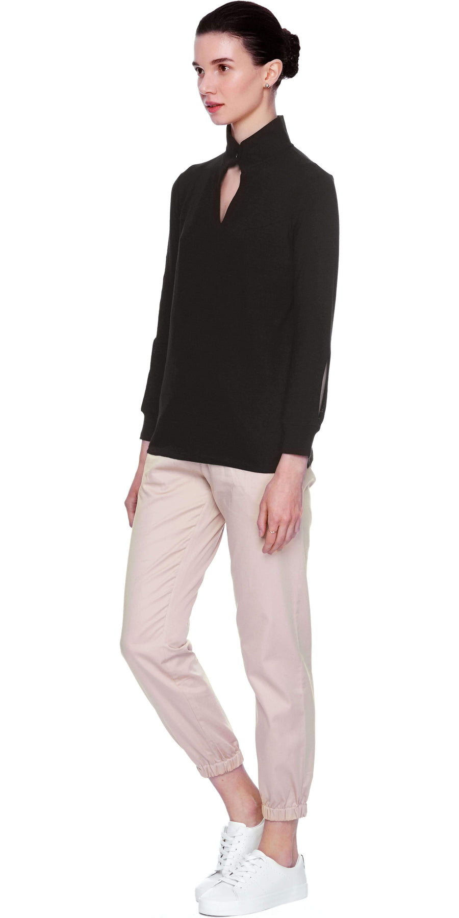 Long Sleeve Top with button detail - Black