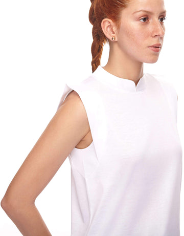 Collarless White Shirt