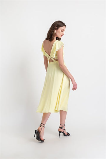 Open Back Long Dress - Light Yellow