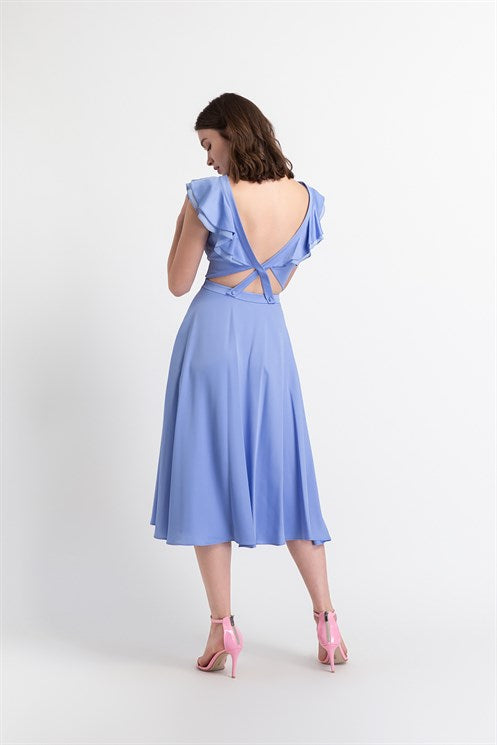 Open Back Long Dress - Blue