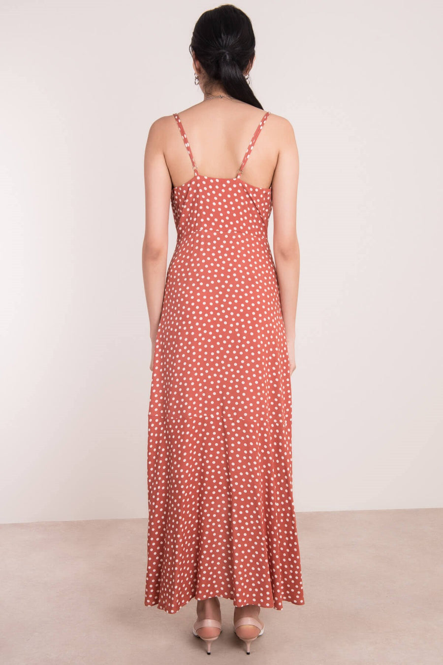 Strappy Polka Dot Dress - Terracotta