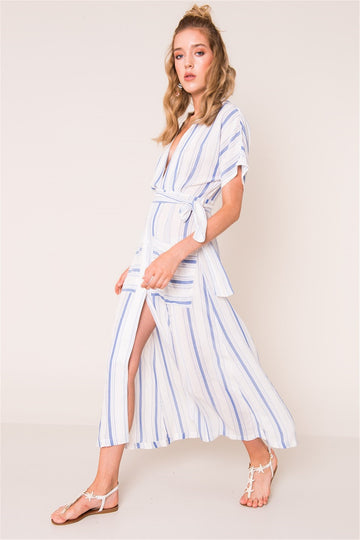 Ecru/Blue Stripe Dress