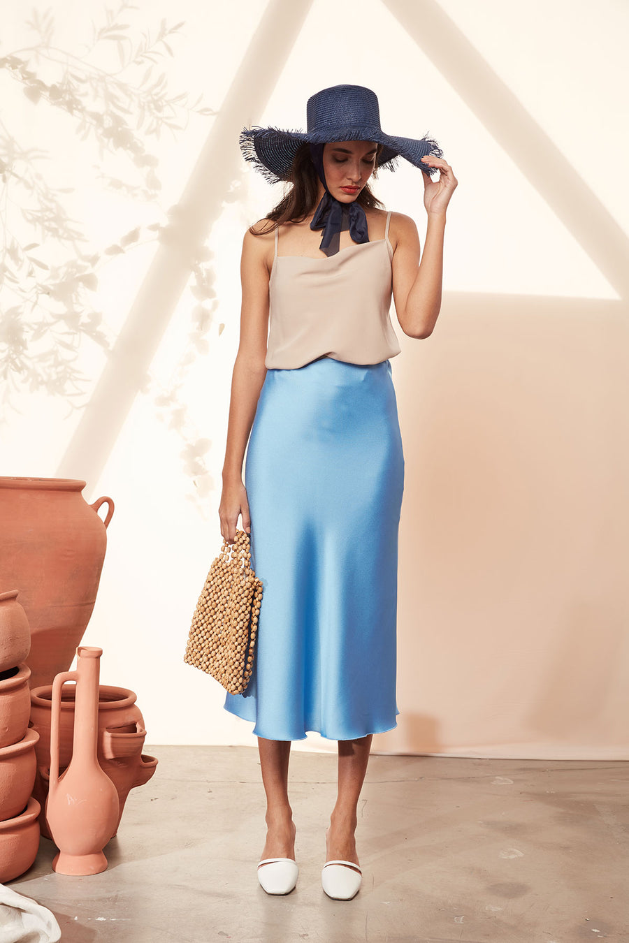 Blue Satin Midi Skirt