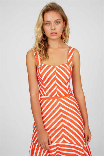 Coral/Ecru Chevron Cami Top
