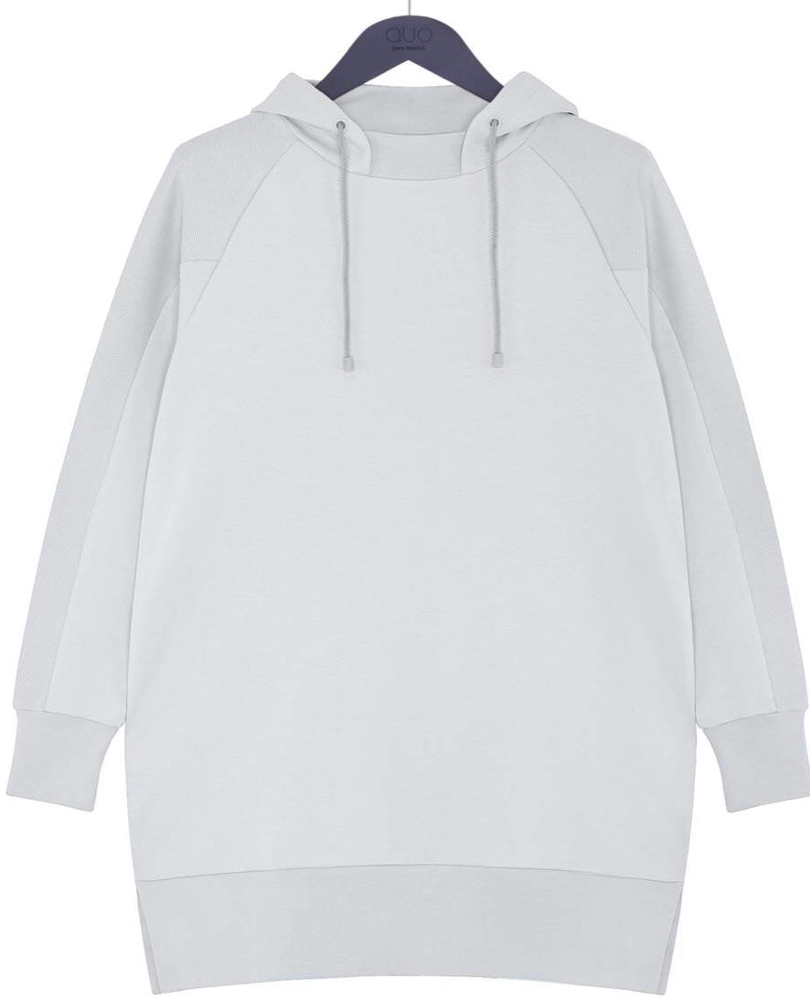 Grey Long Sweatshirt with Hoody