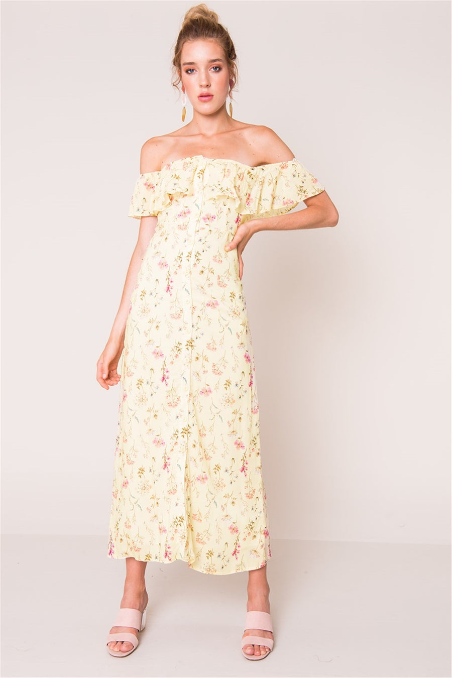 Off the Shoulder Ruffle Dress - Yellow