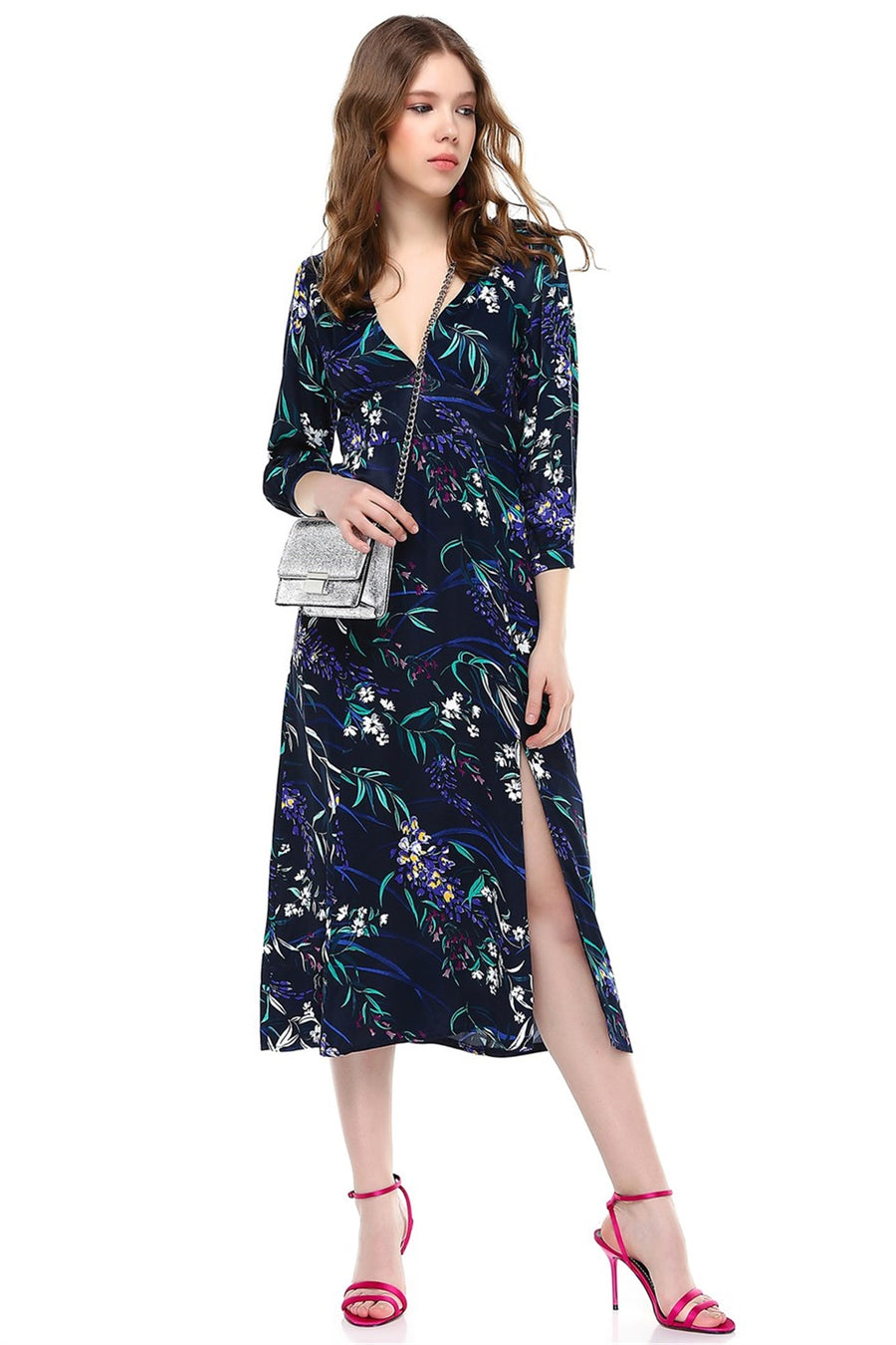 Dark Blue Flower Print Dress