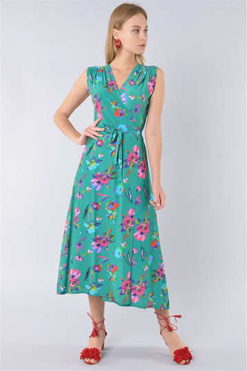Floral Print Wrap Dress - Green