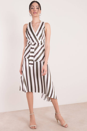 Open Back Stripe Khaki/Ecru Dress