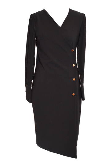 Black Long Sleeve Button Dress