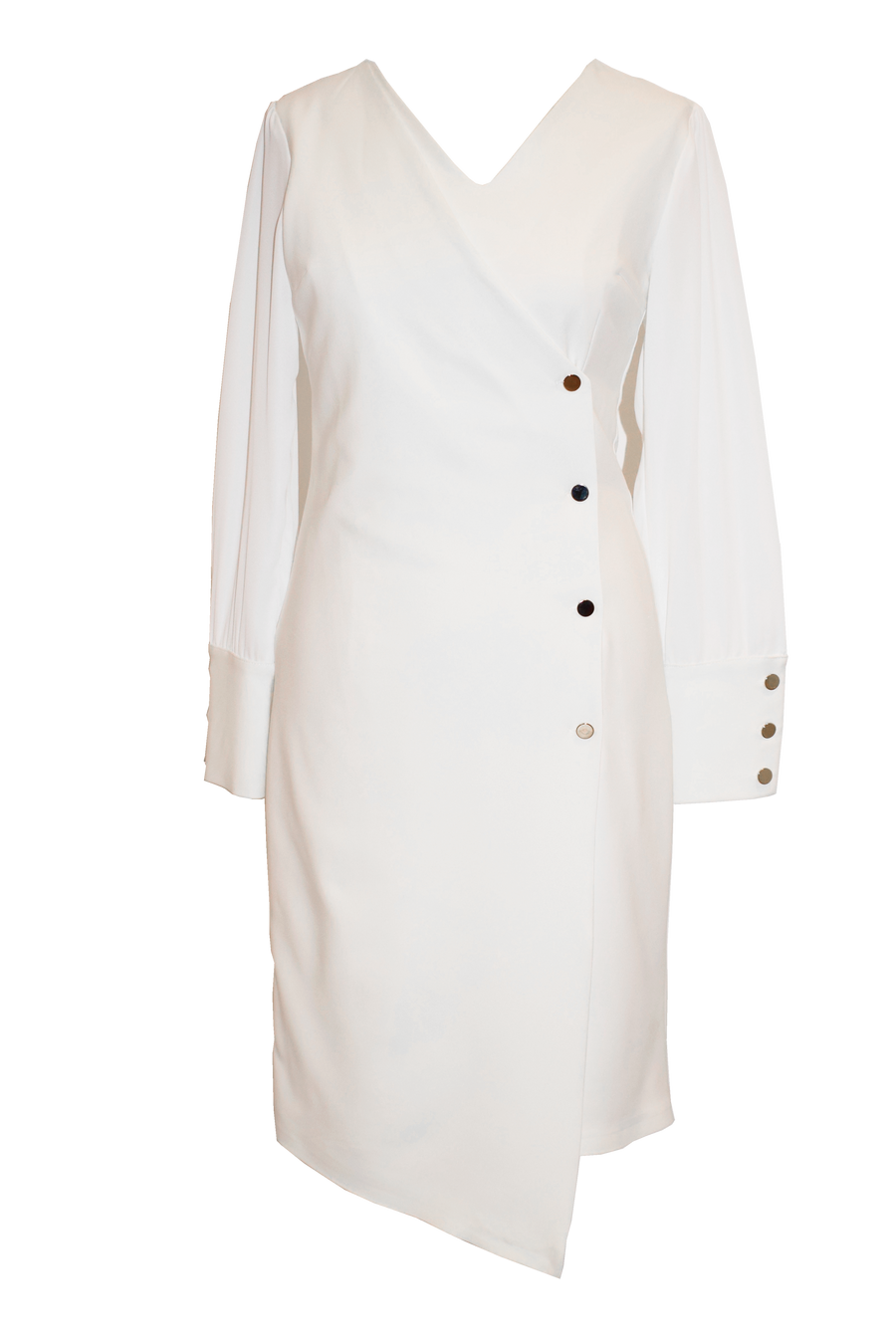 White Long Sleeve Button Dress