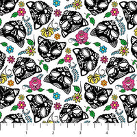 Nine Lives White Cat Skull Fabric, Northcott