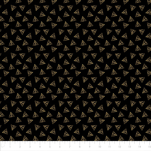 Harry Potter Deathly Hallows Logo - Metallic Fabric, Camelot