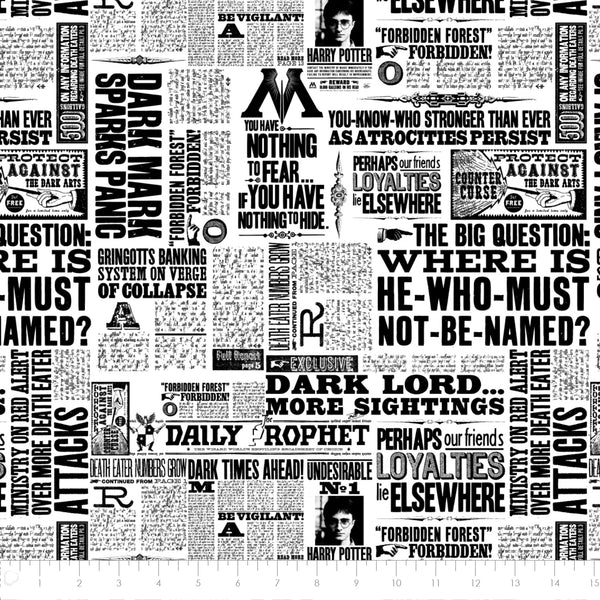 Harry Potter Newspaper Newsprint Fabric, Camelot