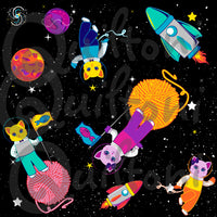Cats in Spaaace fabric from Animals in Spaaace Collection 60 inches WIDE!