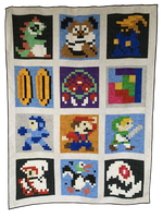 Retro Gaming Revival Quilt a Long Block 1 - Bubblesaur
