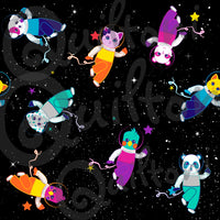 "Group in Spaaace (6""x6"" size) fabric from Animals in Spaaace Collection 60 inches WIDE!"
