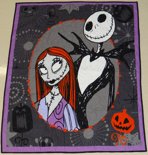 Nightmare Before Christmas Jack & Sally Panel Lap Quilt