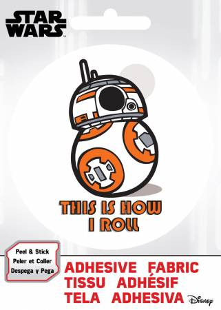 PREORDER Star Wars - SW BB-8 How I Roll - Adhesive Fabric 3 in/ 7.62 cm Badge