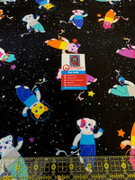 "Group in Spaaace (12""x12"" size) fabric from Animals in Spaaace Collection"
