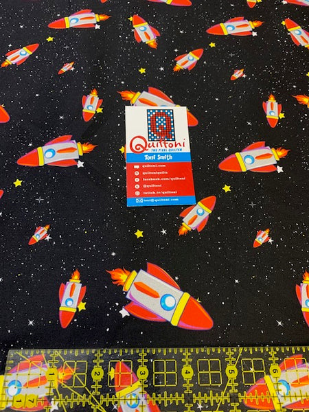 Rockets in Spaaace fabric from Animals in Spaaace Collection 60 inches WIDE!