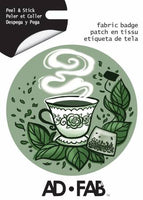 PREORDER Sippin with Besties- Tea - Adhesive Fabric 3 in/ 7.62 cm Badge
