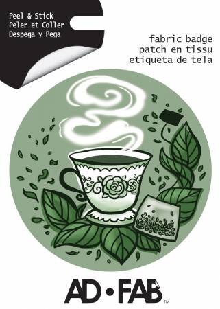 Sippin with Besties- Tea - Adhesive Fabric 3 in/ 7.62 cm Badge