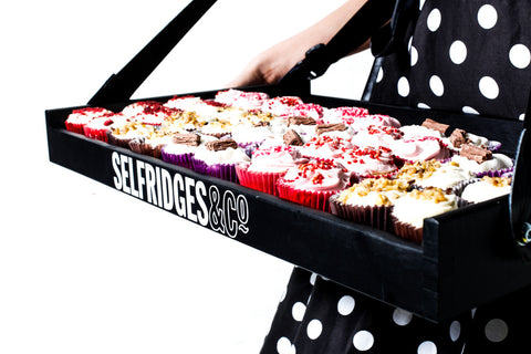 Slimline Black Usherette Tray With Bespoke Logo
