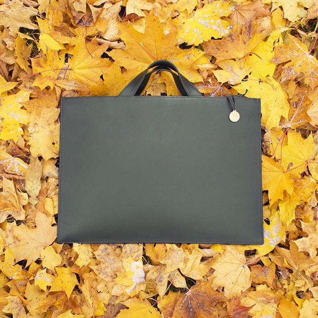 Green business bag on autumn leaves