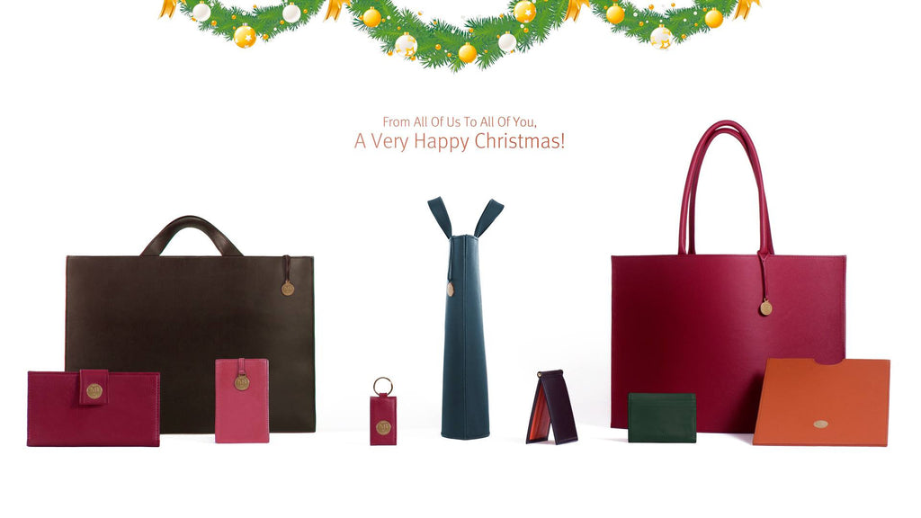 The Christmas card with our handmade leather products