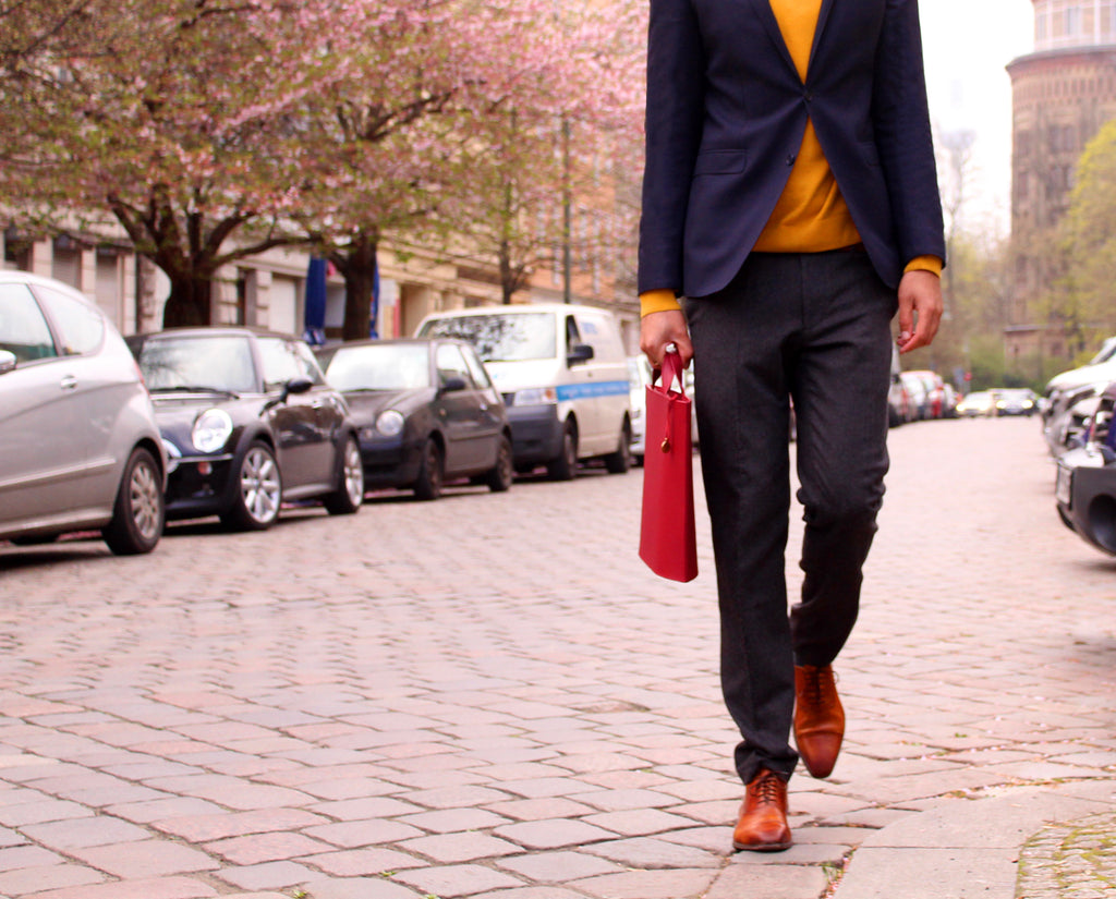On the go with a red briefcase
