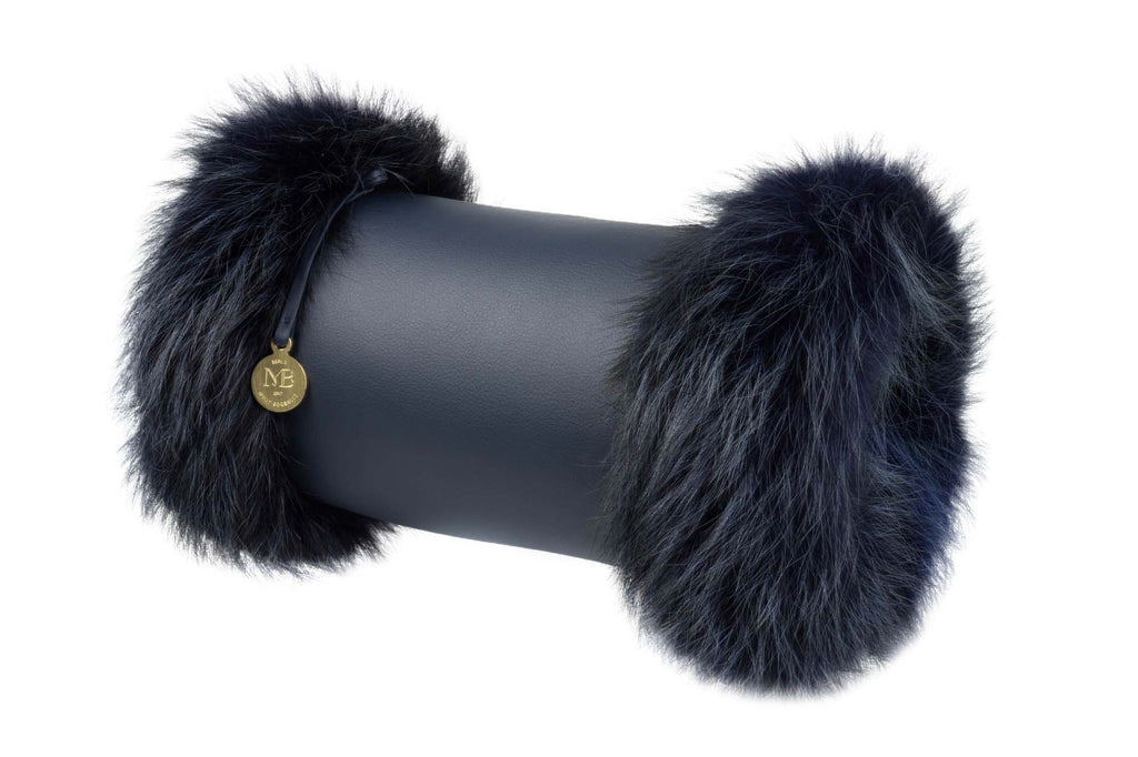 Muff Clutch Cross-Body Bag With Fur - Blue Leather - Munk Bogballe