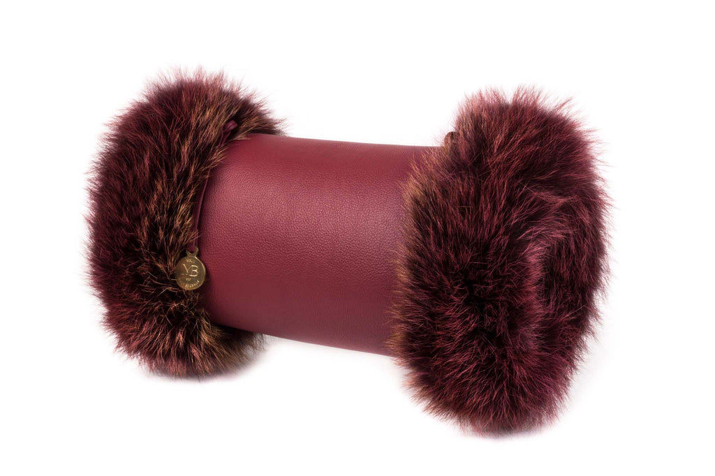 Muff Clutch Cross-Body Bag With Fur - Red Leather - Munk Bogballe