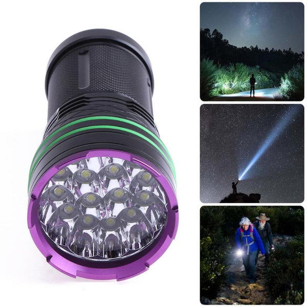 16LED 38000LM T6 Waterproof USB Rechargeable Aluminum Flashlight Torch