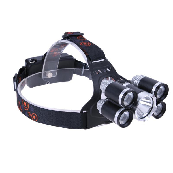 Waterproof Aluminum Alloy XML-16 4 X XPE 5 LED Headlamp Headlight Flashlight Emergency Outdoor Hunting Camping Use 18650 Battery