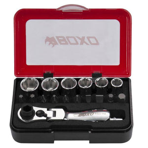 "BOXO 1/4"" Socket Set with Flex Ratchet, 18 Pc - Roost Factory Hoosier Offroad USA"