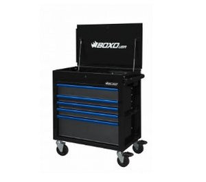 "BOXO 34"" 5 Drawer Service Cart w Power Strip - Black - Roost Factory Hoosier Offroad USA"