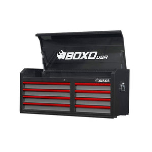 "BOXO 45"" 8 Drawer Top Chest (Gloss Black Body/Gloss Gray Drawers/ Red Anodized Drawer Pulls) - Roost Factory Hoosier Offroad USA"