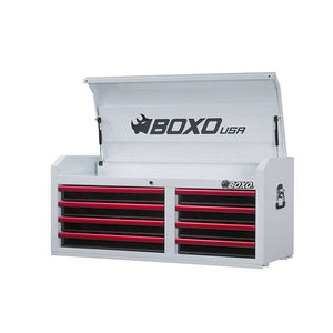 "BOXO 45"" 8 Drawer Top Chest (Gloss White Body/Gloss Black Drawers/ Red Anodized Drawer Pulls) - Roost Factory Hoosier Offroad USA"