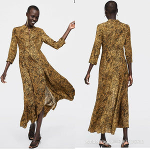 4f3c1823a778 ZARA WOMAN SNAKE PRINT LONG SHIRT DRESS SIZE M UK 10