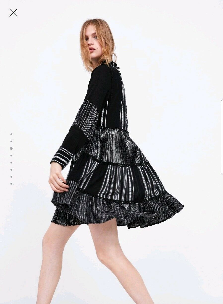 5a22ca3ce00b Load image into Gallery viewer, ZARA BLACK CONTRASTING EMBROIDERED DRESS  SIZE XL 14 ...