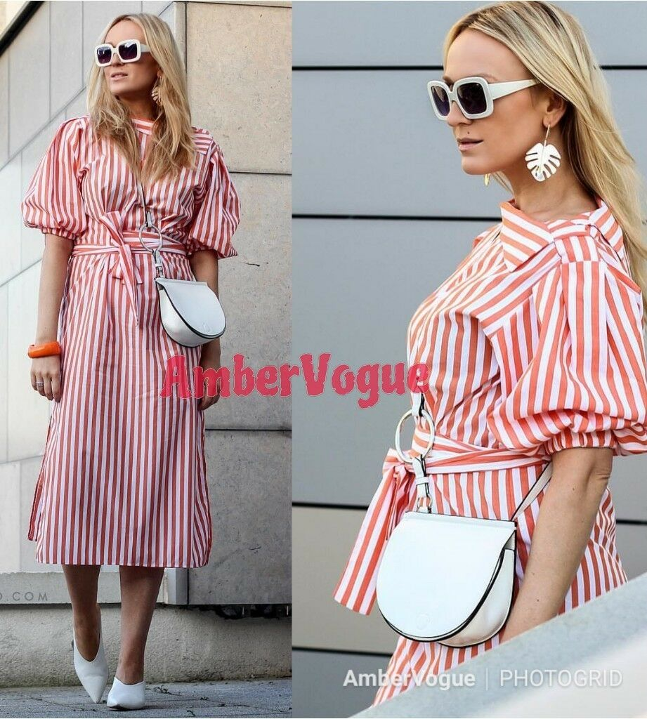 57f07700 ... Load image into Gallery viewer, ZARA NEW MIDI STRIPED DRESS WITH PUFF  SLEEVES SIZE XS ...