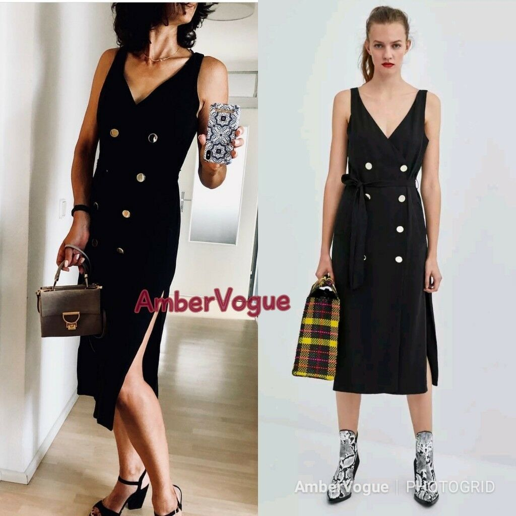 768c24538464 ... Load image into Gallery viewer, ZARA BLACK BELTED FRONT BUTTONS MIDI  DRESS SIZE M UK ...