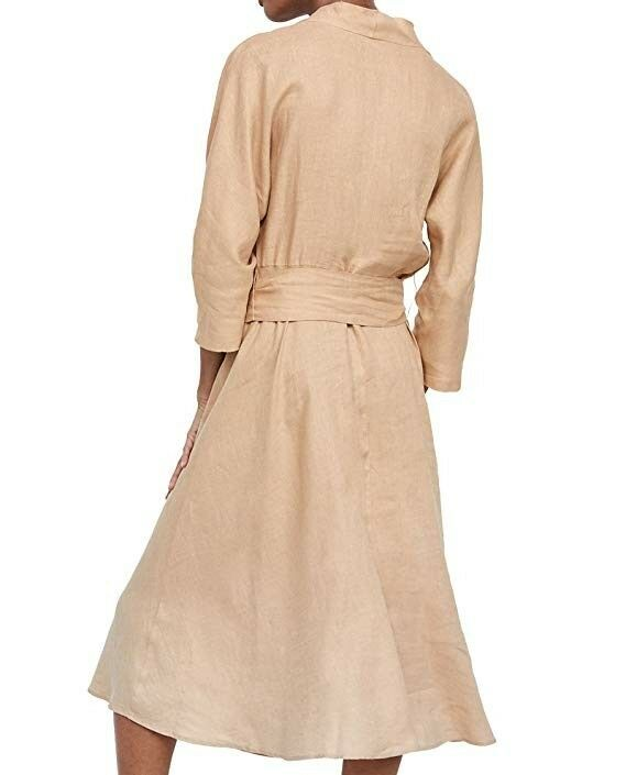f1070fee89c ZARA SAND NUDE LINEN MIDI BELTED DRESS SIZE S UK 8 – ambervogue-zara