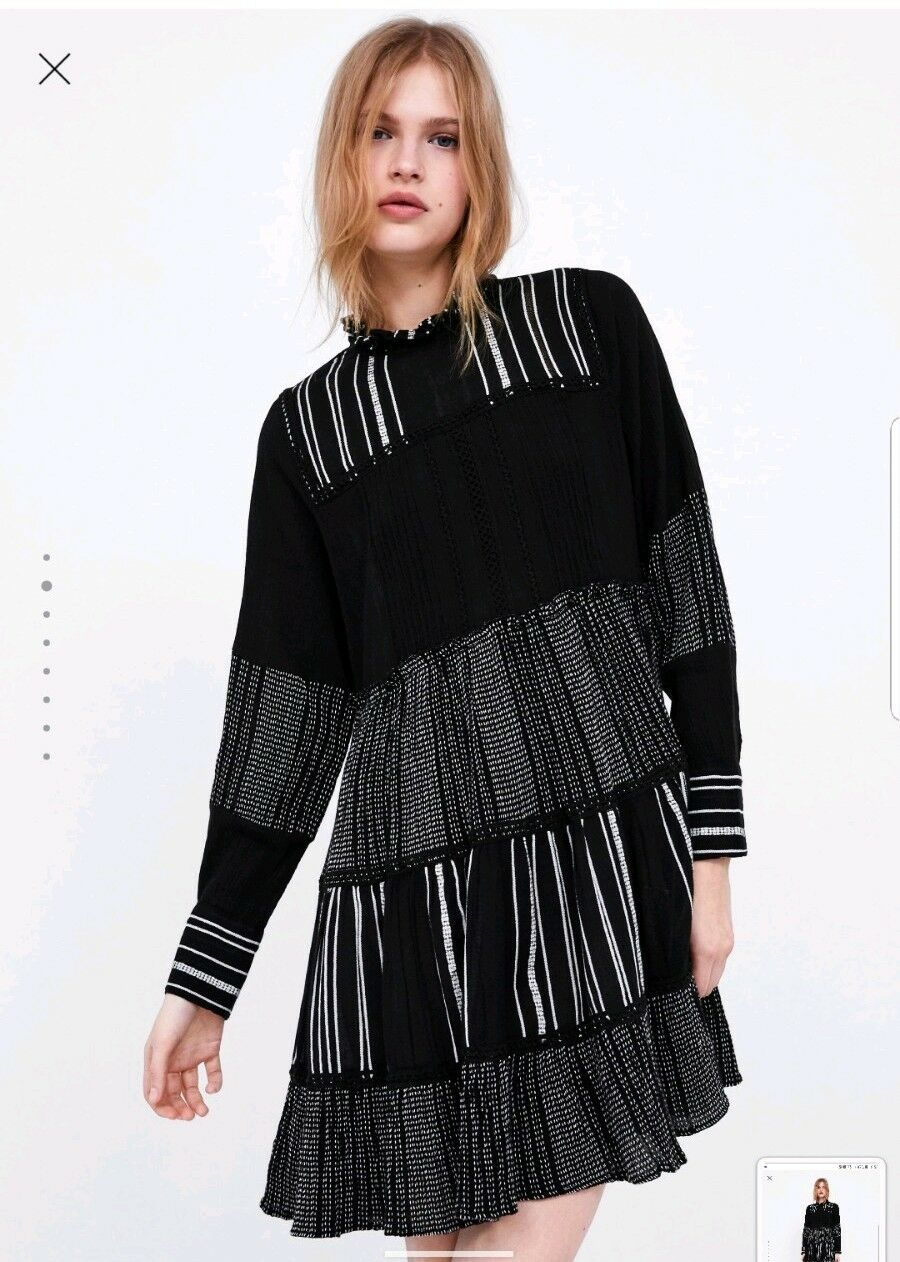 6102297b36e8 ... Load image into Gallery viewer, ZARA BLACK CONTRASTING EMBROIDERED DRESS  SIZE XL 14 ...