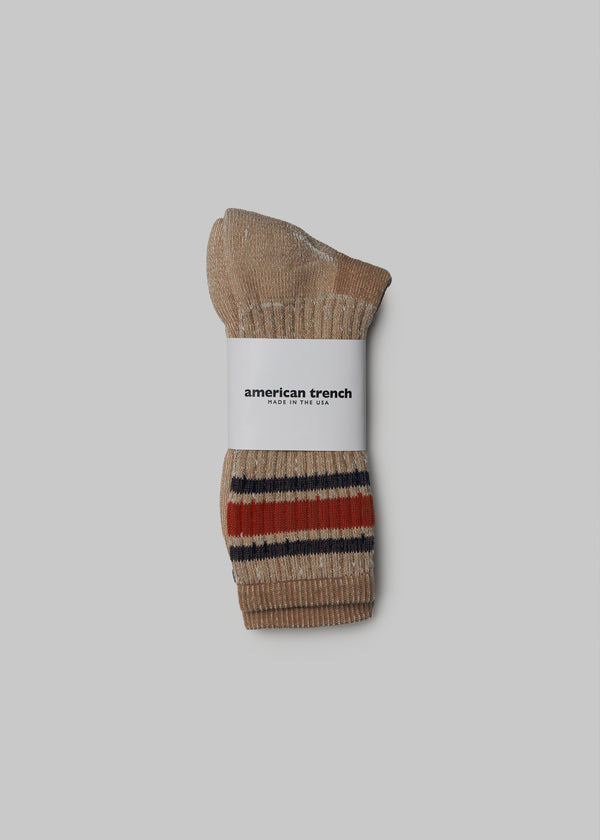 Merino Activity Socks - Tan/Navy/Rust