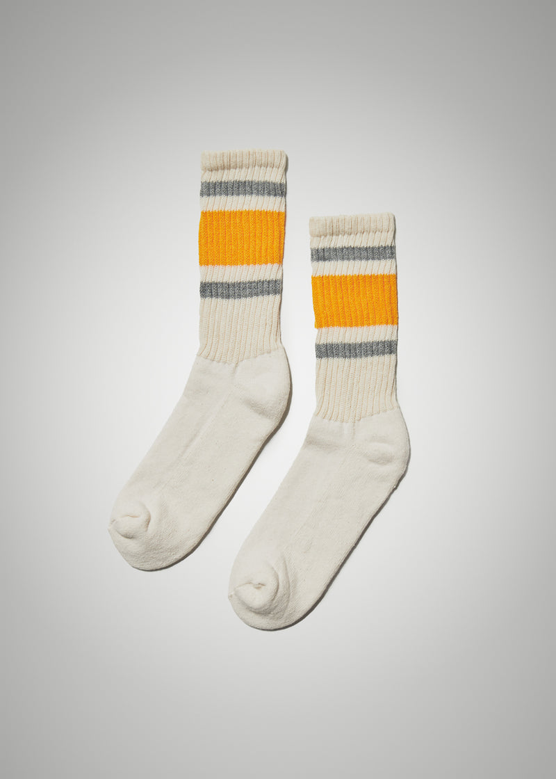 Retro Stripe Socks - Grey/Gold